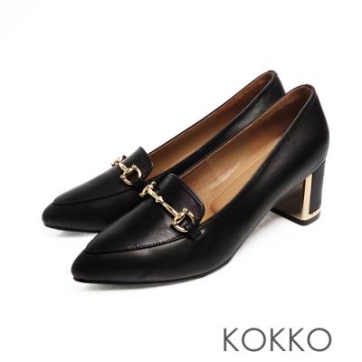 KOKKO - 經典品味尖頭牛皮鏡面粗跟-亮黑色