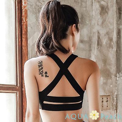 運動內衣 後X型拉帶設計素面美背內衣 (黑色)-AQUA Peach