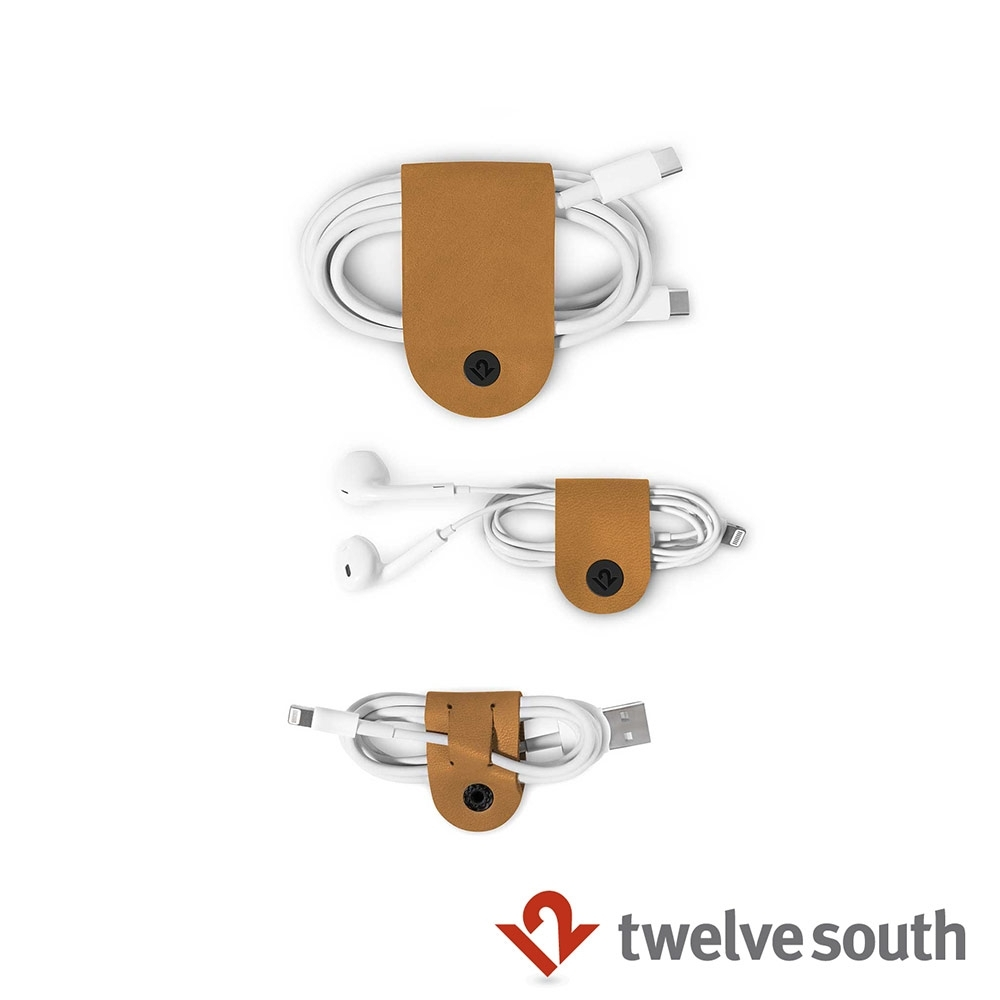 Twelve South CableSnap 真皮集線器(三件組) -干邑棕 product image 1