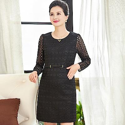 經典圓圈蕾絲鏤空修身連衣裙XL~4XL(共二色)-理子時尚