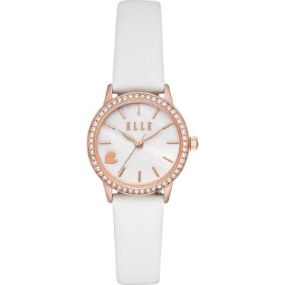 ELLE Alma系列愛上妳時尚女錶-珍珠貝x白色錶帶/28mm ELL21032