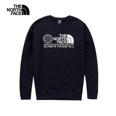 The North Face北面男款深藍色圓領長袖上衣|5JZ7RG1