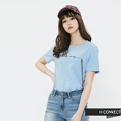 H:CONNECT 韓國品牌 女裝-簡約草寫文字T-shirt-藍
