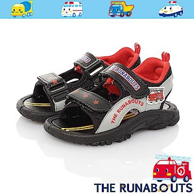 三麗鷗 THE RUNABOUTS童鞋 輕量減壓運動休閒涼鞋-黑