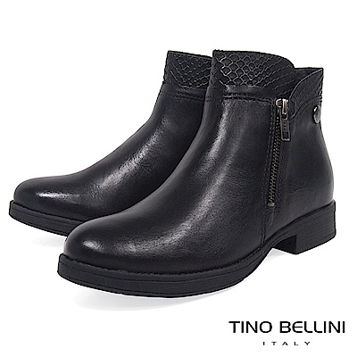 Tino Bellini巴西進口拼接蛇紋金屬拉鍊平底短靴_黑
