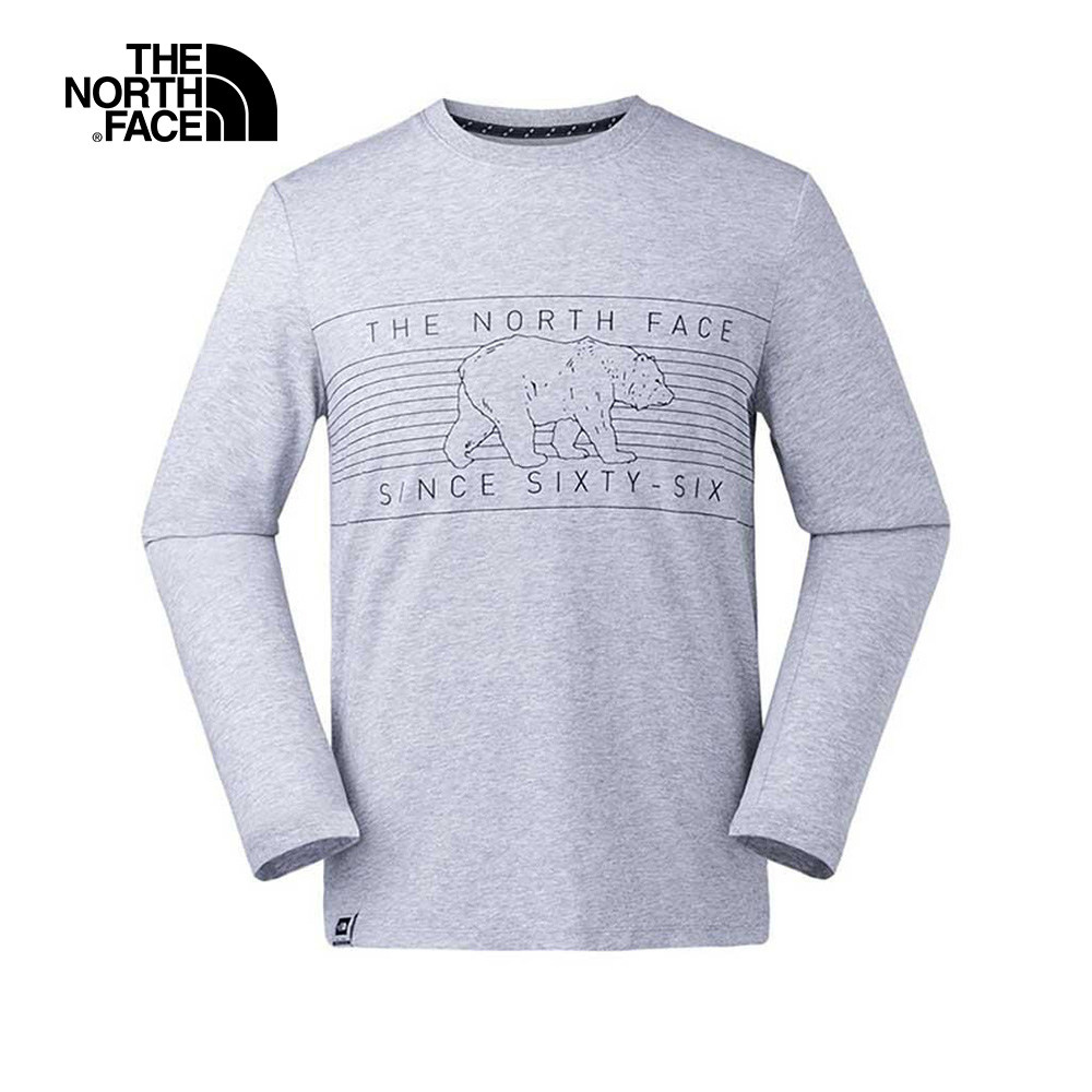 The North Face北面男款淺灰色印花舒適透氣長袖T恤|3L79DYX