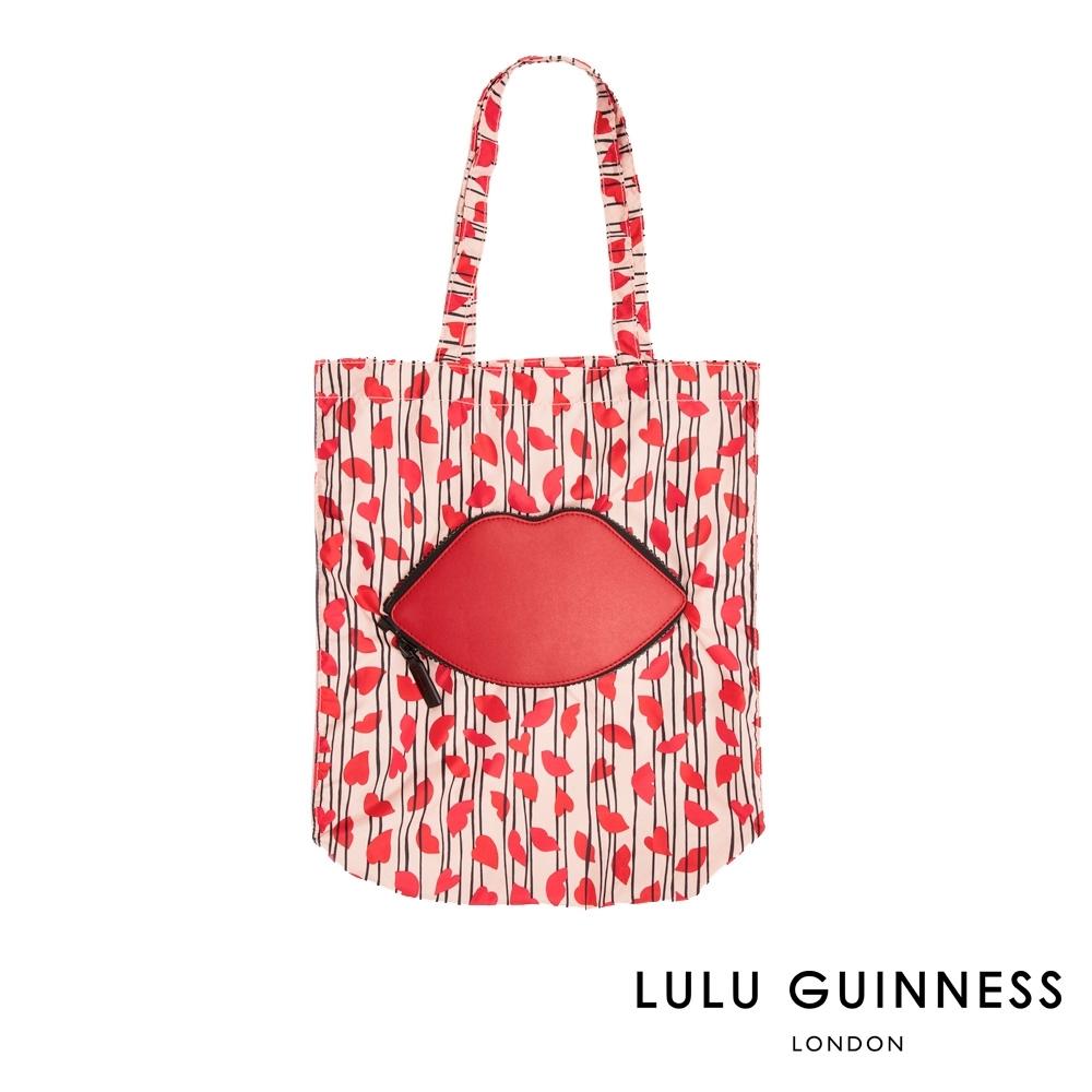 LULU GUINNESS LIPS & HEART TRIPE 收納式購物袋