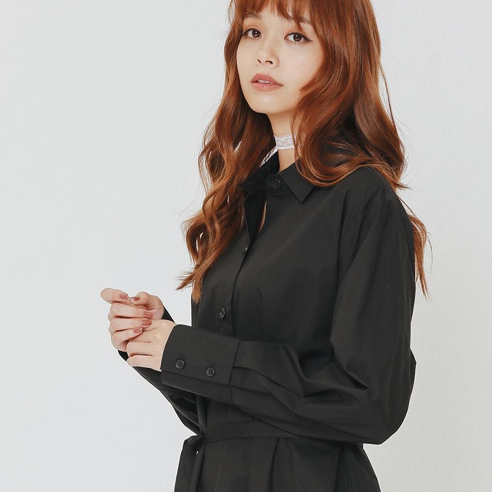 H:CONNECT 韓國品牌 女裝-微甜綁帶襯衫洋裝-黑(快)
