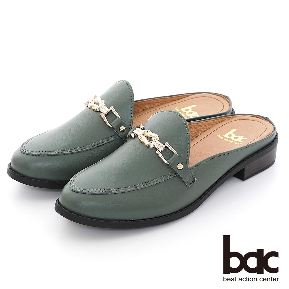 【bac】繩索金屬飾釦樂福平底穆勒鞋-綠色