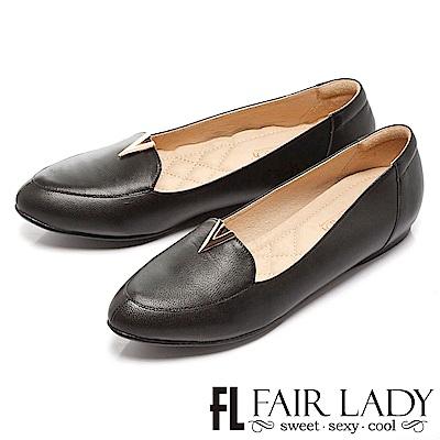 Fair Lady 有一種喜歡是早秋-紳士風V字平底鞋 黑