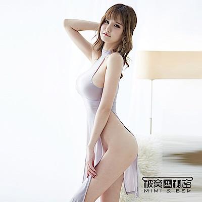 性感睡衣 時尚淡雅性感高開叉長裙。優雅灰 被窩的秘密