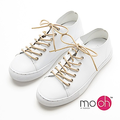 mo.oh-全真皮-內增高真皮百搭休閒鞋-白色