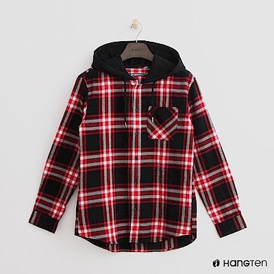 Hang Ten - 格紋排扣連帽上衣 - 紅