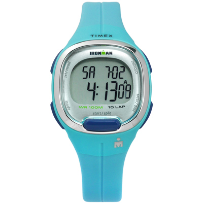 TIMEX 天美時 IRONMAN 鐵人系列 計時碼錶鬧鈴防水電子橡膠手錶-藍色/34mm