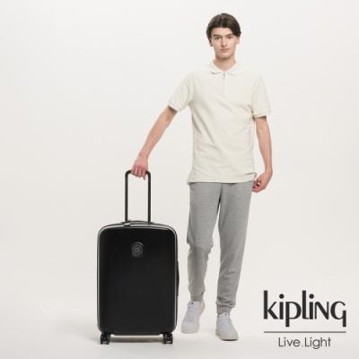 Kipling 曜岩黑品牌經典圓標27吋摩登硬殼行李箱-CURIOSITY M