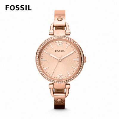FOSSIL Georgia 迷你婉約氣質女錶 玫瑰金不鏽鋼鍊帶 32MM ES3226