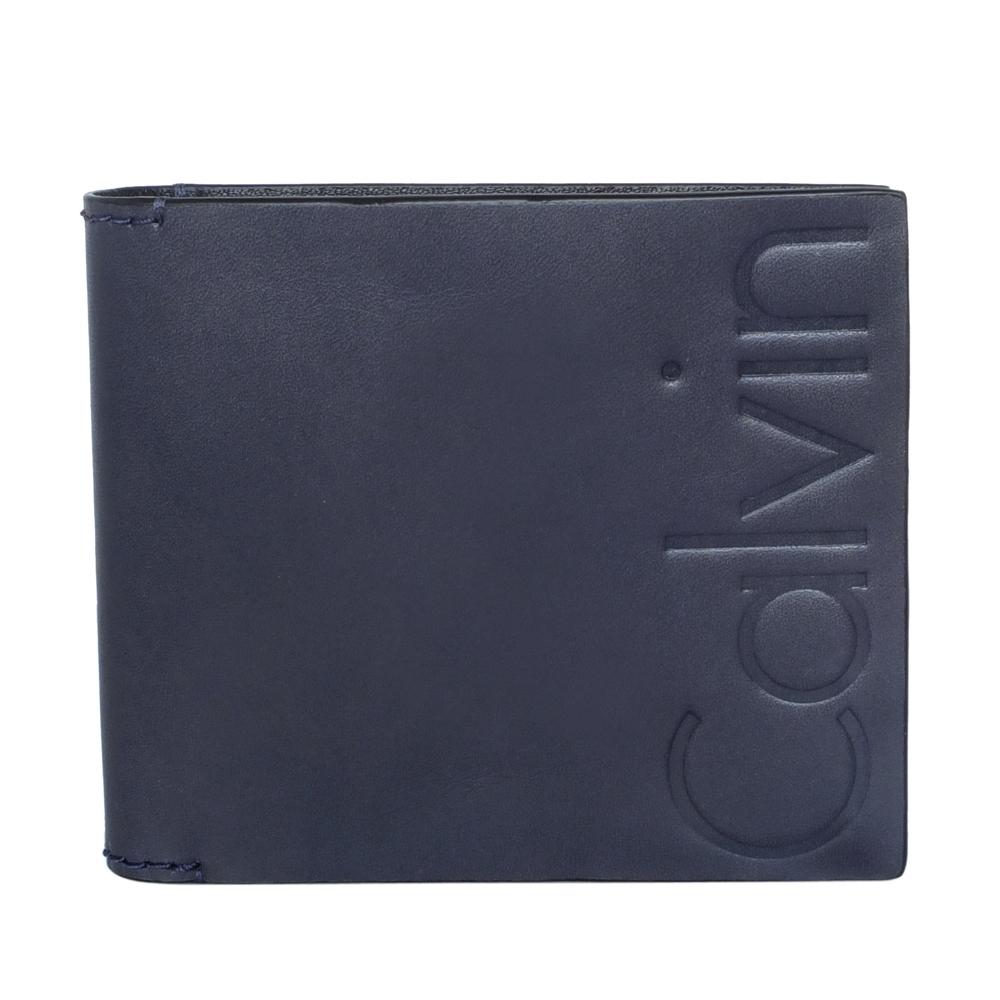 Calvin Klein午夜藍全皮logo烙印雙折短夾
