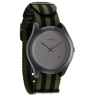 NIXON The QUAD 拼裝潮流都會休閒腕錶-鐵灰x綠黑/39mm