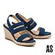 涼鞋 AS 愜意時尚寬繫帶草編楔型高跟涼鞋-藍 product thumbnail 1