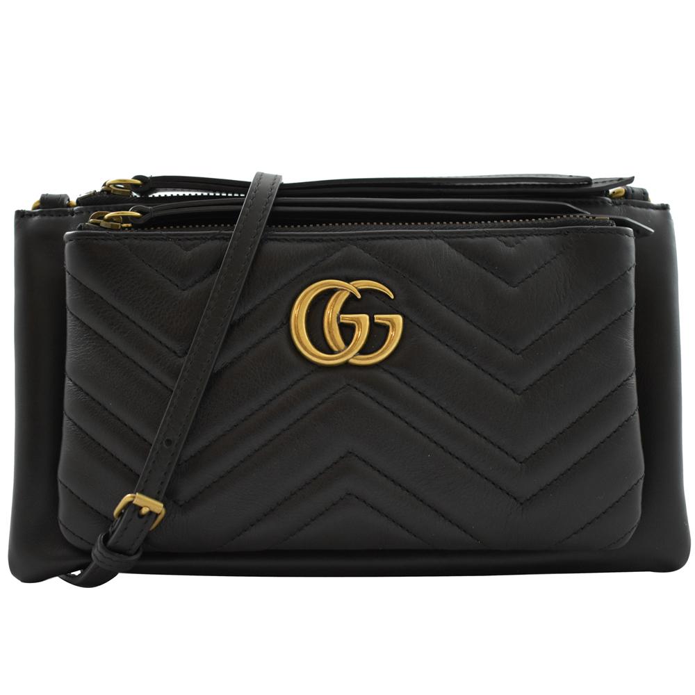 GUCCI Marmont縫線牛皮金屬GG LOGO斜背包(黑)GUCCI