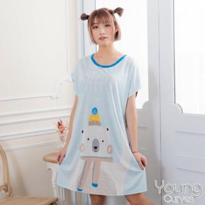 睡衣 牛奶絲質短袖連身睡衣(C01-100711雪花白熊) Young Curves