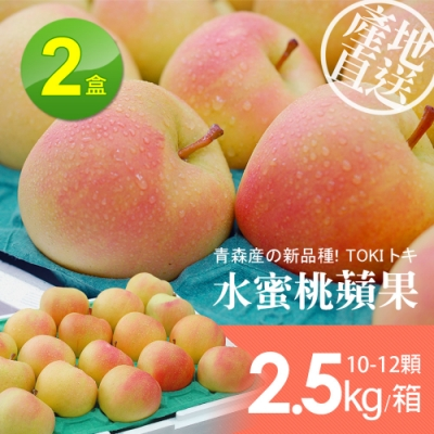 築地一番鮮-日本青森代表TOKI水蜜桃蘋果禮盒2盒(10-12顆/盒/2.5kg±10%)
