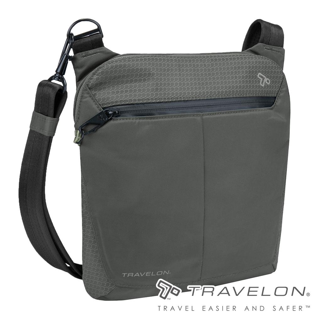 Travelon美國防盜包 抗水輕量休閒旅遊防割鋼網多層小斜背包TL-43126灰