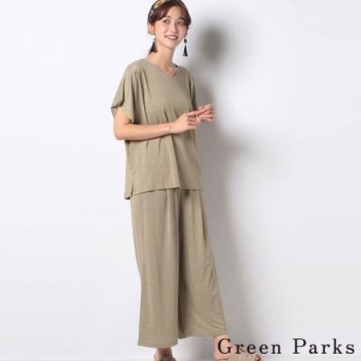 Green Parks 【SET ITEM】簡約V領上衣+舒適寬褲