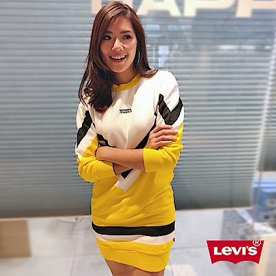 Levis 女款 長袖洋裝 LOGO 黃白黑拼接