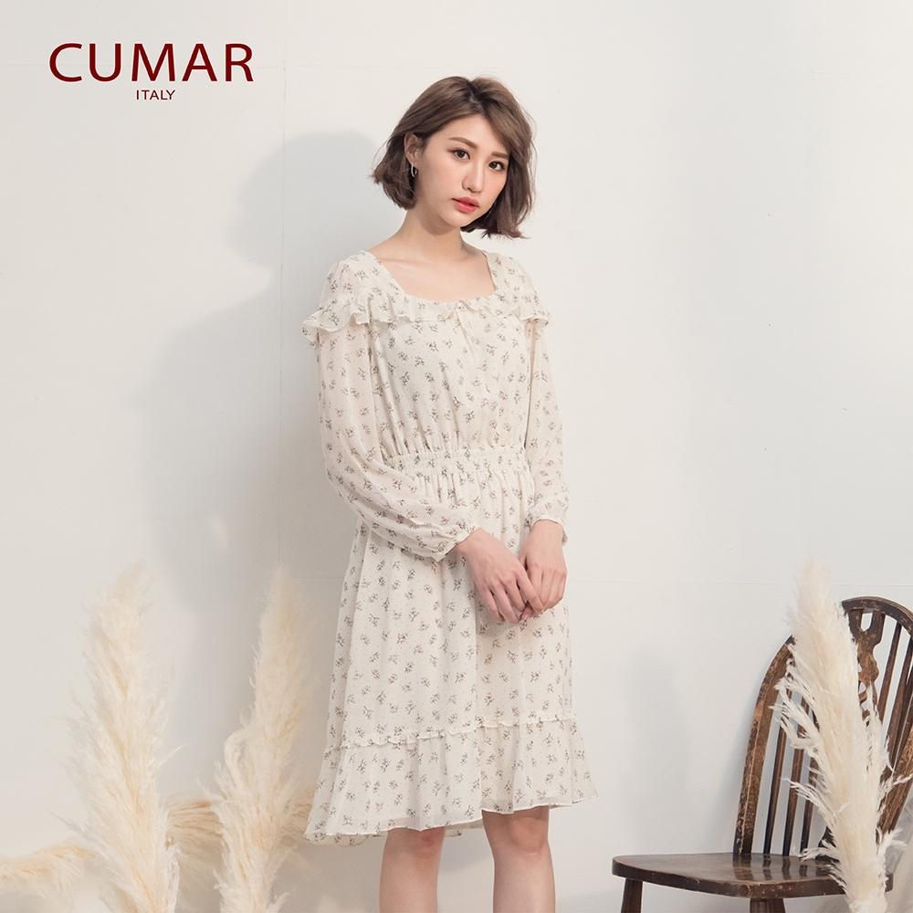 【CUMAR】浪漫碎花荷葉邊長袖-洋裝(米色/版型合身)