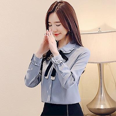 DABI 韓國風雪紡顯瘦蝴蝶結系帶長袖上衣