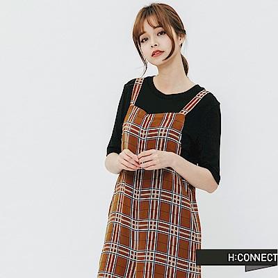 H:CONNECT 韓國品牌 女裝-格紋連身寬褲-棕