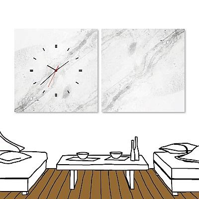 美學365 二聯 無框畫時鐘掛畫- 大理石紋 40x40cm