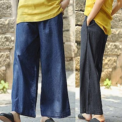 牛仔褲-輕薄棉布絲光寬管-X8533-設計所在