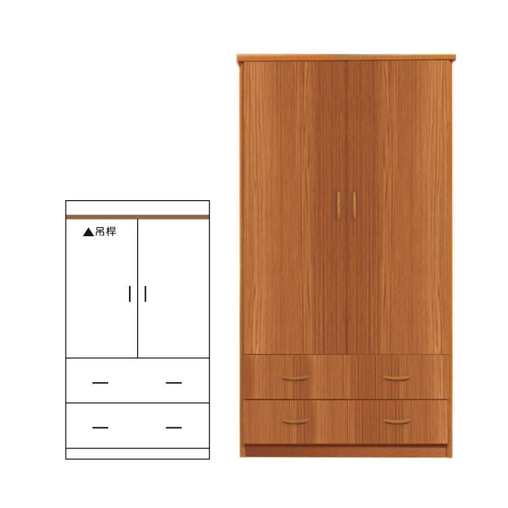 韓菲-南方松色二抽塑鋼雙門衣櫃-91x46.5x180cm