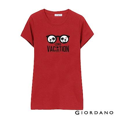 GIORDANO 女裝假期休閒印花T恤-70 高貴紅