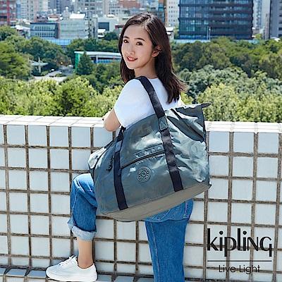 Kipling 林依晨款迷彩緞灰手提側背包-ART M