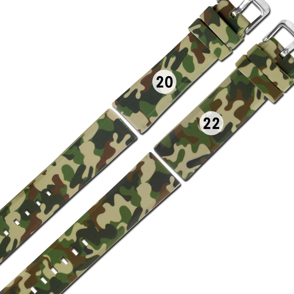 Watchband / 各品牌通用 舒適 輕便 運動 矽膠錶帶 - 迷彩綠色