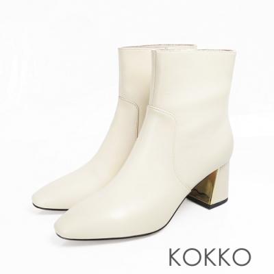 KOKKO - 限量訂製方頭牛皮鏡面粗跟 - 牛奶白