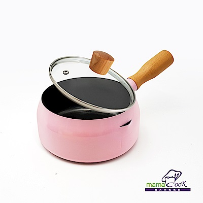 義大利Mama Cook輕量奶鍋組16cm 千禧粉(附蓋)(快)