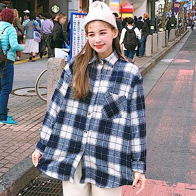 La Belleza學院風復古毛料格子單口袋長版寬鬆襯衫外套