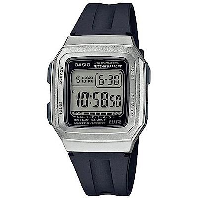 CASIO 復古方形十年電力設計電子腕錶(F-201WAM-7)銀框/41mm