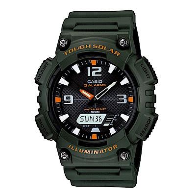 CASIO 戶外運動 太陽能 數位雙顯腕錶 (AQ-S810W-3A)-軍綠/52mm