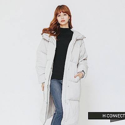 H:CONNECT 韓國品牌 女裝-連帽羽絨長版外套-灰