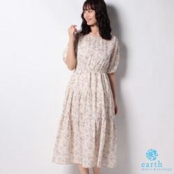 earth music 復古花朵打印分層式雪紡洋裝