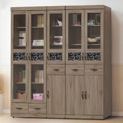 MUNA 伊凡卡灰橡色6.6尺書櫃組 200X42.4X197cm