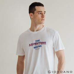 GIORDANO  男裝復古印花短袖T恤 - 41 皎白