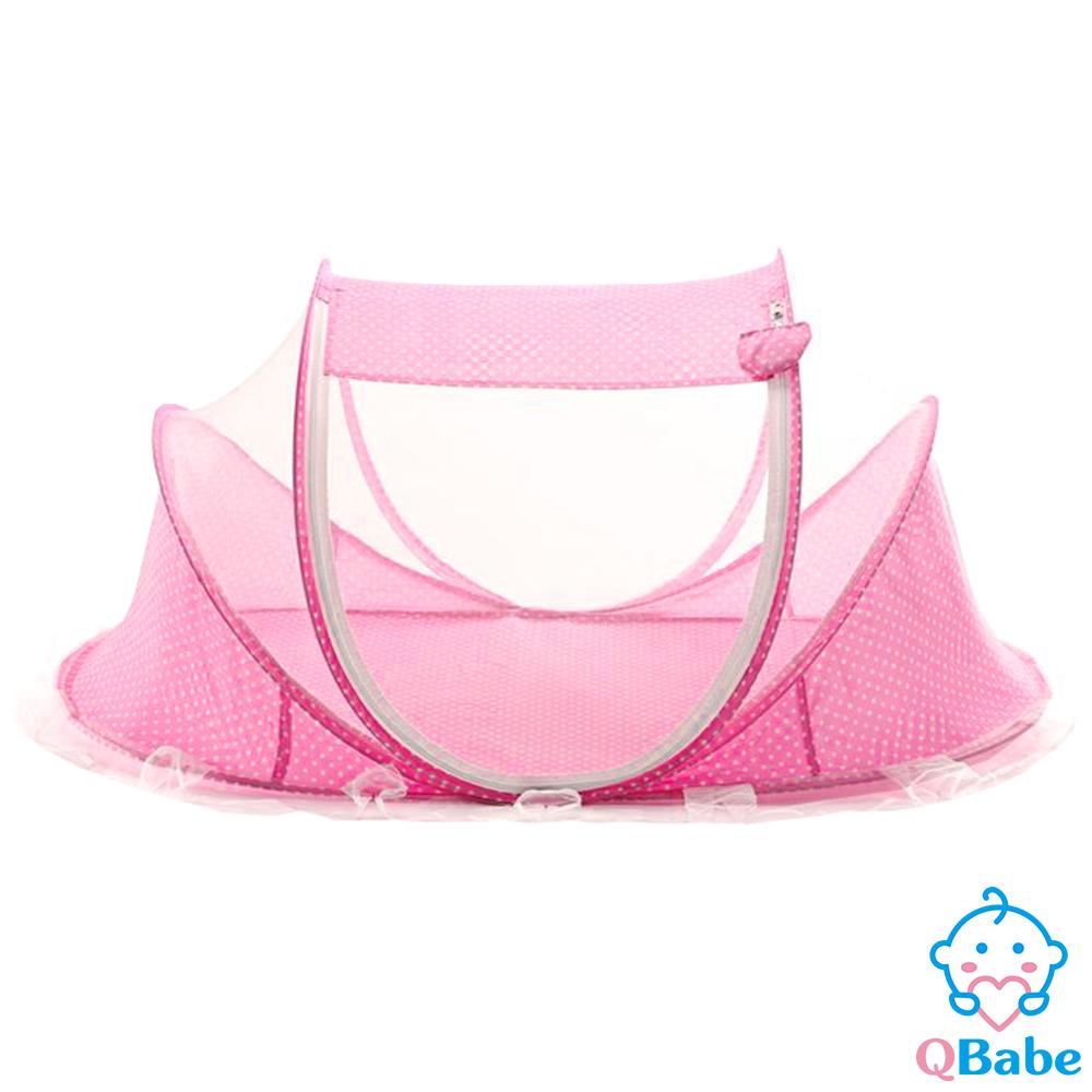 QBabe 免安裝單門寶寶蒙古包蚊帳(附小枕頭)-粉色