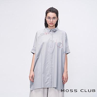 MOSS CLUB INLook 日式街頭刺繡裝飾長版襯衫(灰色)
