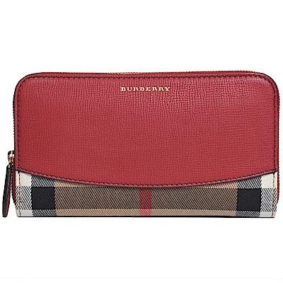 BURBERRY House 格紋皮革環繞式拉鍊皮夾(軍紅色)